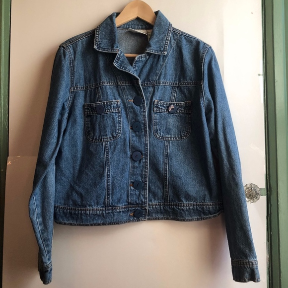 Vintage Jackets & Blazers - VINTAGE BILL BLASS Medium Wash Denim Jean Jacket